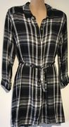 BLACK CHECKED BELTED MATERNITY/NURSING SHIRT TOP SIZES 10-20